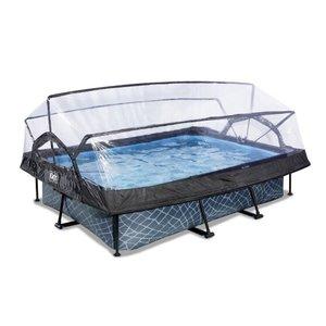 EXIT Stone zwembad 300x200x65cm met overkapping en filterpomp - grijs